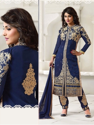 Picture of NavyBlue and Golden Party Wear Georgette Straight Replica