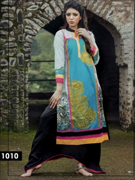 Picture of 1010White and SkyBlue Cotton Lawn Daily Wear Kurti