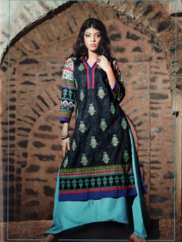 Picture of 1007Black and Multicolor Cotton Lawn Daily Wear Kurti