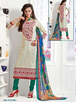 Picture of 1009Ivory and SpringGreen Daily Wear Satin Cotton Straight Suit