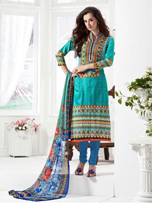 Picture of 1003AquaMarin and DeepSkyBlue Daily Wear Satin Cotton Straight Suit
