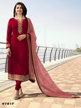Picture of MARINA9781F Silk Georgette with Embroidery Work Straight Suit