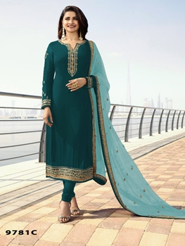 Picture of MARINA9781C Silk Georgette with Embroidery Work Straight Suit