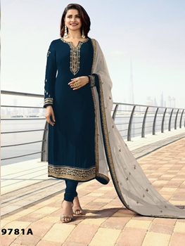 Picture of MARINA9781A Silk Georgette with Embroidery Work Straight Suit