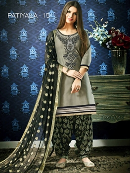 Picture of PATIALA15 Embroidery Designer Patiala Suit