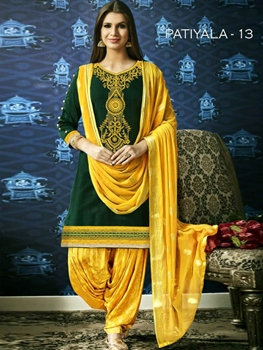 Picture of PATIALA13 Embroidery Designer Patiala Suit