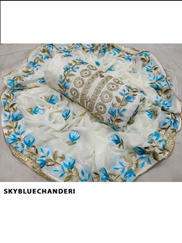 Picture of Skyblue Chanderi Designer Dress Material