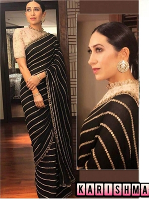 Picture of Karishma BLACK Designer Georgette Saree