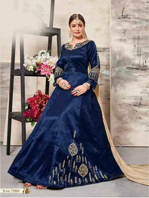 Picture of 77003 Designer Royal Blue Anarkali Suit