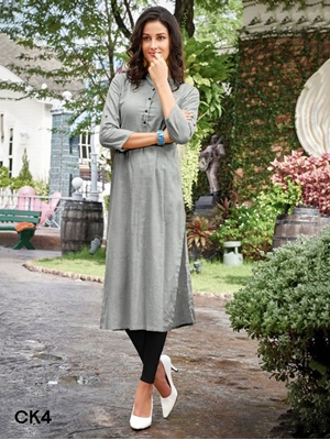 Picture of CK4 Grey Cotton Designer Kurti Collection