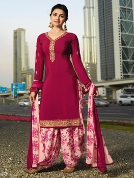 Picture of 8797 Designer Royal Crepe Silkina Patiala Suit