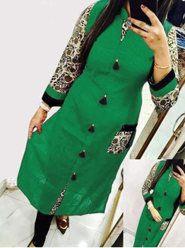 Picture of 2008 Rama Green  Designer Cotton Kurti