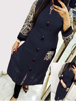 Picture of 2002 Dark Blue  Designer Cotton Kurti