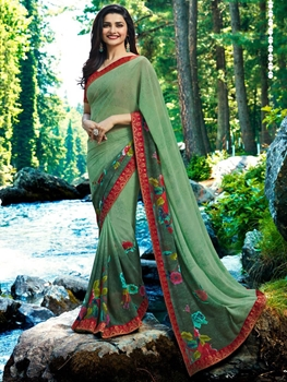 Picture of 19305 Light Green Designer Georgette Saree