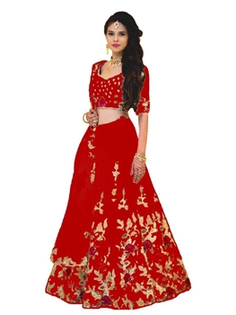 Picture of 5006 Red Designer Embroidered Lehenga Choli