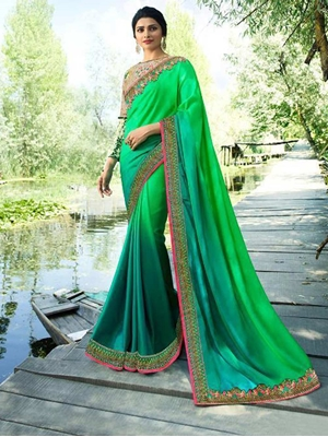Picture of PREMIER19866 Green Rangoli Embroidered Saree