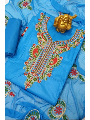 Picture of DM003 Blue Special Cotton Dress Material