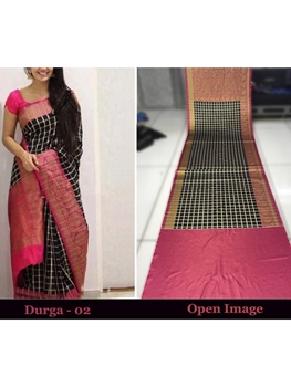 Picture of DURGA02 Designer Satin Gota Digital Print Saree