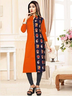 Picture of 3004 Orange Designer Heavy Slub XXL SIZE Cotton Kurti