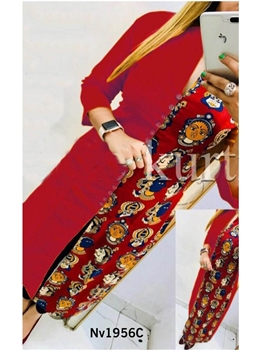 Picture of Nv1956C Red Designer Cotton Kurti