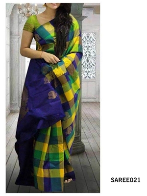 Picture of 021 Exclusive Golden Zari Digital Printed Saree With Running Blouse