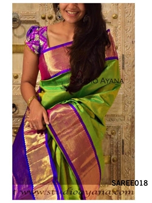 Picture of 018 Exclusive Golden Zari Digital Printed Saree With Running Blouse