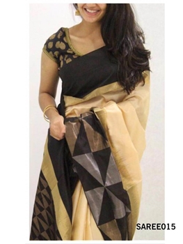 Picture of 015 Exclusive Golden Zari Digital Printed Saree With Running Blouse