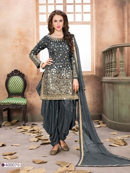 Picture of AANAYA40007 Taffeta SilkPatiala Suit