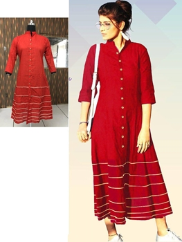 Picture of 11 Red Designer Long Cotton Kurti