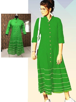 Picture of 08 Parrot Green Designer Long Cotton Kurti
