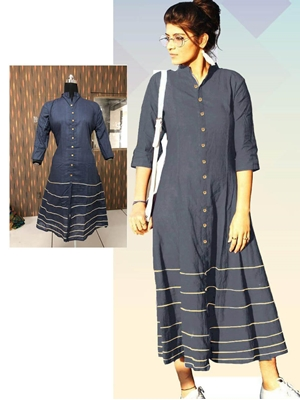 Picture of 05 Grey Designer Long Cotton Kurti