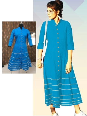 Picture of 03 Firozi Blue Designer Long Cotton Kurti
