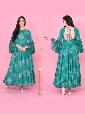 Picture of KUMUDKALA21SEABLUE Long Gown Style Kurti