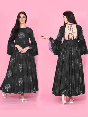 Picture of KUMUDKALA21BLACK Long Gown Style Kurti
