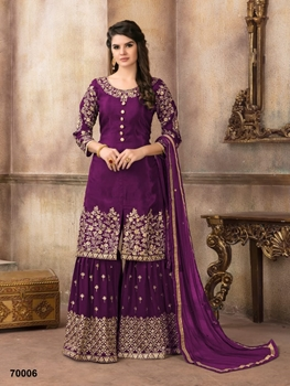 Picture of A 70006 Purple Designer Sharara Suit