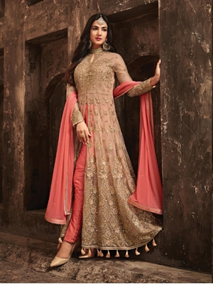 Picture of 5704A Light Pink Designer Net Anarkali Collection