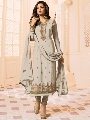Picture of 2606 Beige Designer Ethnic Wear Straight Suit