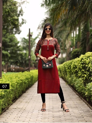 Picture of 07 Maroon Heavy Cotton Designer Kurti Collection