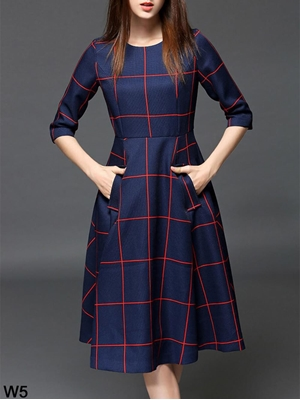 Picture of W5 Blue and Red Cotton Twill Printed Western Wear Dress