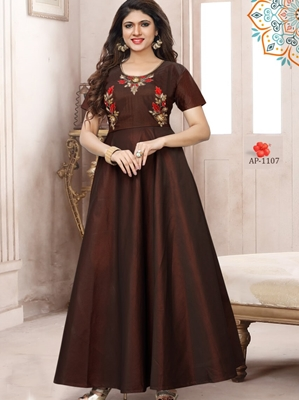 Picture of AP1107 Coffee Satin Taffeta Full Stitched Gown