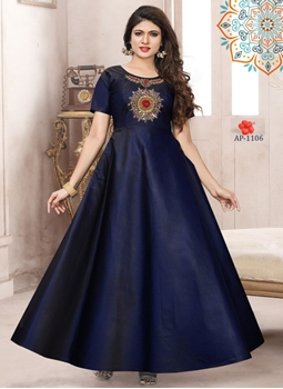 Picture of AP1106 Blue Satin Taffeta Full Stitched Gown