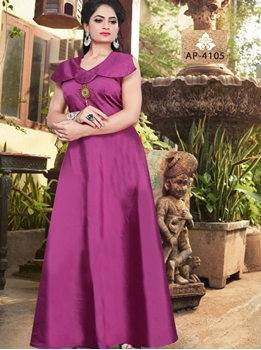 Picture of AP4105 Purple Satin Taffeta Full Stitched Gown