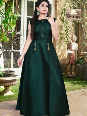 Picture of AP4104 Dark Green Satin Taffeta Full Stitched Gown