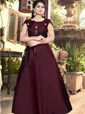 Picture of AP4101 Maroon Satin Taffeta Full Stitched Gown
