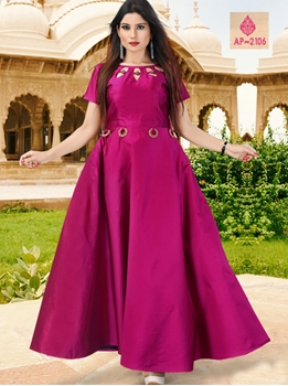 Picture of AP2106 Rani Satin Taffeta Full Stitched Gown