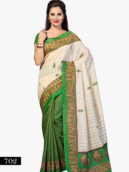 Picture of 702 Ivory and Green Designer Bhagalpuri Silk Saree