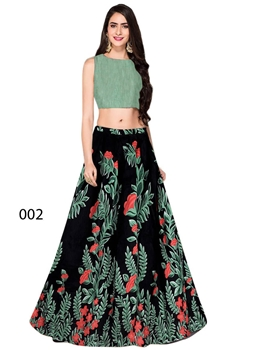 Picture of 002 Black Banglory Satin Silk Designer Lehenga
