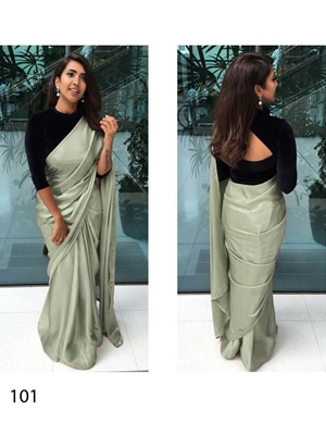 Picture of 101 Pista Green Japan Crepe Silk Saree