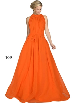 Picture of 109 Orange Designer Western Wear Stitched Gown