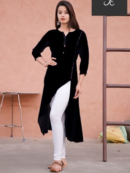 Picture of Black Designer Rayon Kurti
